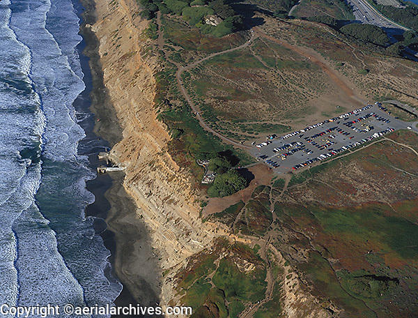 aerial above Fort Funston hang glider launch San Francisco at the Pacific coast San Francisco
