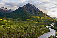 King Mountain, Matanuska River, Matanuska Valley along the Glenn Highway, Alaska.