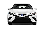 Car photography straight front view of a 2019 Toyota Camry Hybrid SE 4 Door Sedan