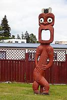 Maori Totem to a Sentinel, Ohinemutu Village, Rotorua, north island, New Zealand.