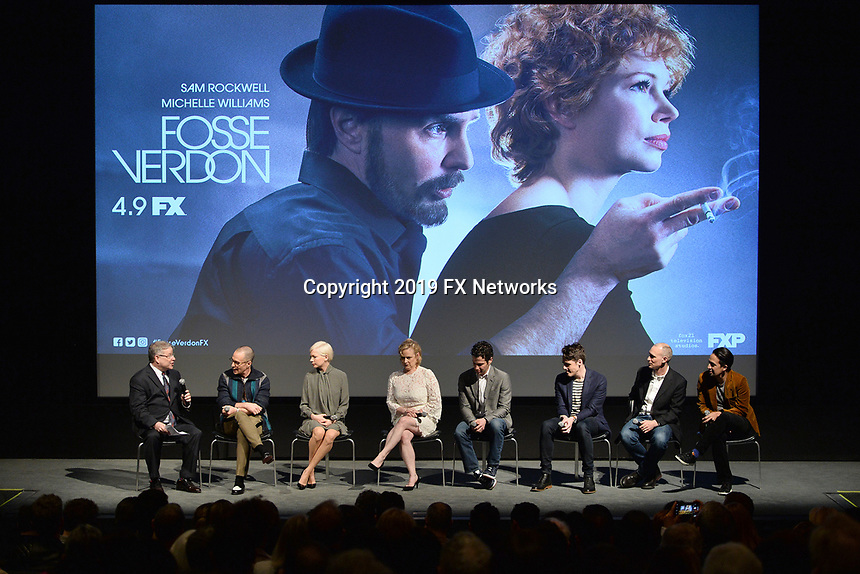"NEW YORK - APRIL 7: (L-R) Moderator Matt Roush, Sam Rockwell, Michelle Williams, Nicole Fosse, Thomas Kail, Steve Levenson, Joel Fields and Lin-Manuel Miranda attend a Q&A after the screening of FX's ""Fosse Verdon"" presented by FX Networks, Fox 21 Television Studios, and FX Productions at the Museum of Modern Art on April 7, 2019 in New York City. (Photo by Anthony Behar/FX/PictureGroup)"