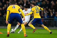 Tottenham Hotspur's Son Heung-Min has a shot at goal under pressure from Andrea Barzagli of Juventus <br /> <br /> Photographer Craig Mercer/CameraSport<br /> <br /> UEFA Champions League Round of 16 Second Leg - Tottenham Hotspur v Juventus - Wednesday 7th March 2018 - Wembley Stadium - London <br />  <br /> World Copyright &copy; 2017 CameraSport. All rights reserved. 43 Linden Ave. Countesthorpe. Leicester. England. LE8 5PG - Tel: +44 (0) 116 277 4147 - admin@camerasport.com - www.camerasport.com