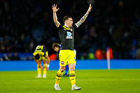11th January 2020; King Power Stadium, Leicester, Midlands, England; English Premier League Football, Leicester City versus Southampton; Pierre-Emile Hojbjerg of Southampton celebrates after the final whistle - Strictly Editorial Use Only. No use with unauthorized audio, video, data, fixture lists, club/league logos or 'live' services. Online in-match use limited to 120 images, no video emulation. No use in betting, games or single club/league/player publications