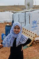 LEBANON Deir el Ahmad, camp for syrian refugees / LIBANON Deir el Ahmad, Camp fuer syrische Fluechtlinge am Dorfrand