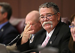 Nevada Sen. Pete Goicoechea, R-Eureka, chairs the Senate Government Affairs committee at the Legislative Building in Carson City, Nev., on Wednesday, Feb. 4, 2015.<br /> Photo by Cathleen Allison