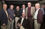 Joe Dombroski, Bob Luckey, Stan Wolfson, Don Norkett, Dick Kraus and Tom Maguire seen gathered around John Cornell at his retirement party on October 10, 2000. Photo by Jim Peppler. Copyright/Jim Peppler-2000