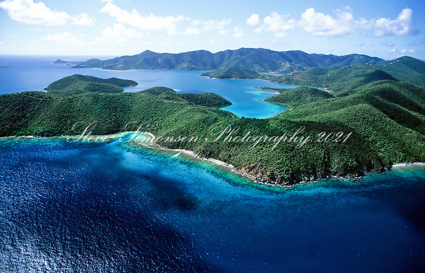 Aerial view of the east end<br /> looking west<br /> St. John<br /> U.S. Virgin Islands