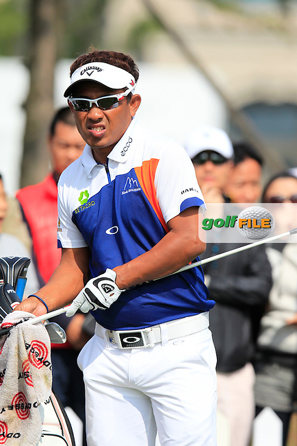 Thongchai Jaidee (THA) on the 1st tee to start his match during Saturday's Round 3 of the 2013 BMW Masters presented by SRE Group held at Lake Malaren Golf Club, Shanghai, China. 26th October 2013.<br /> Picture: Eoin Clarke/www.golffile.ie