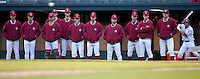 STANFORD, CA - March 25, 2011: The Stanford baseball team watches the pitch from the dugout during Stanford's game against Long Beach State at Sunken Diamond. Stanford lost 6-3.