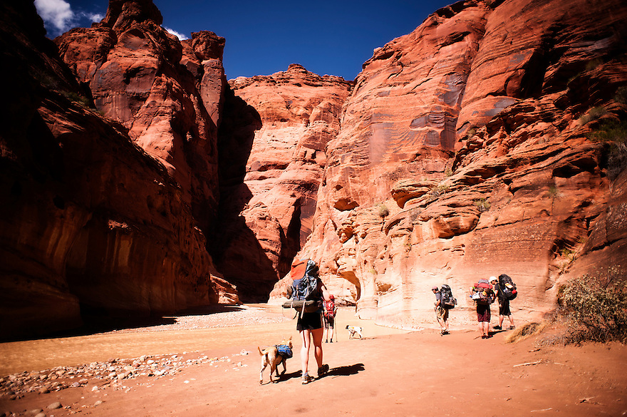 A groups of backpackers explore the Paria River in northern Arizona.