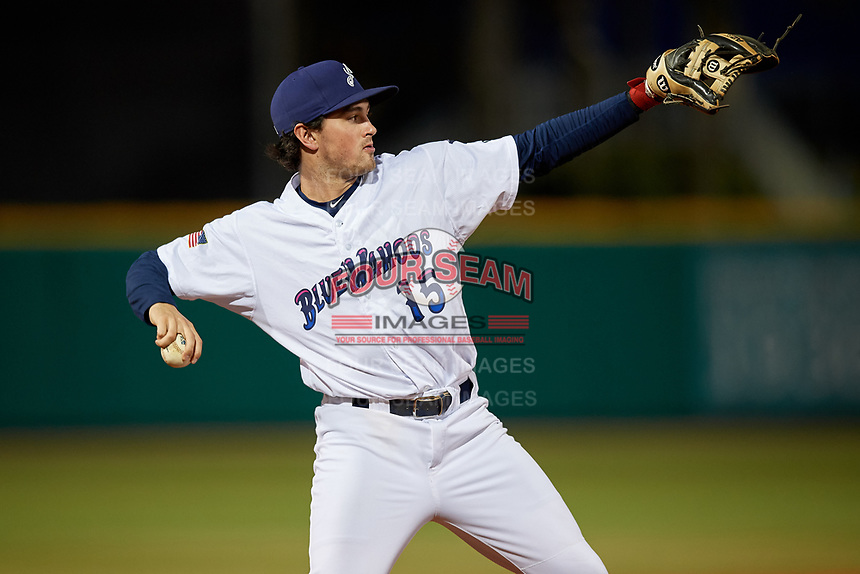 Pensacola Blue Wahoos third baseman Joe Cronin (15) throws to first base during a Southern League game against the Biloxi Shuckers on May 3, 2019 at Admiral Fetterman Field in Pensacola, Florida.  Pensacola defeated Biloxi 10-8.  (Mike Janes/Four Seam Images)