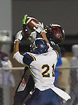 Lawndale, CA 10/07/16 - Ahmir Wilson (Lawndale #8) and Beto torre (Santa Monica #21) in action during the CIF Bay League game between Santa Monica and Lawndale.