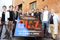 """Roma, 6 Aprile 2012.Photocall del film """"Diaz"""" .Il regista Daniele Vicari con il cast degli attori"""