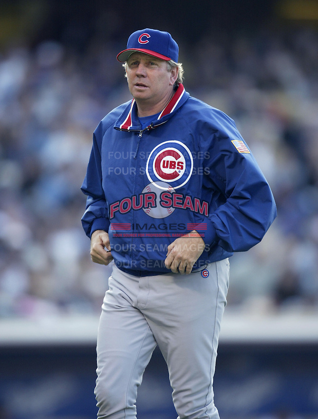 Chicago Cubs pitching coach Larry Rothschild during a 2002 MLB season game against the Los Angeles Dodgers at Dodger Stadium, in Los Angeles, California. (Larry Goren/Four Seam Images)