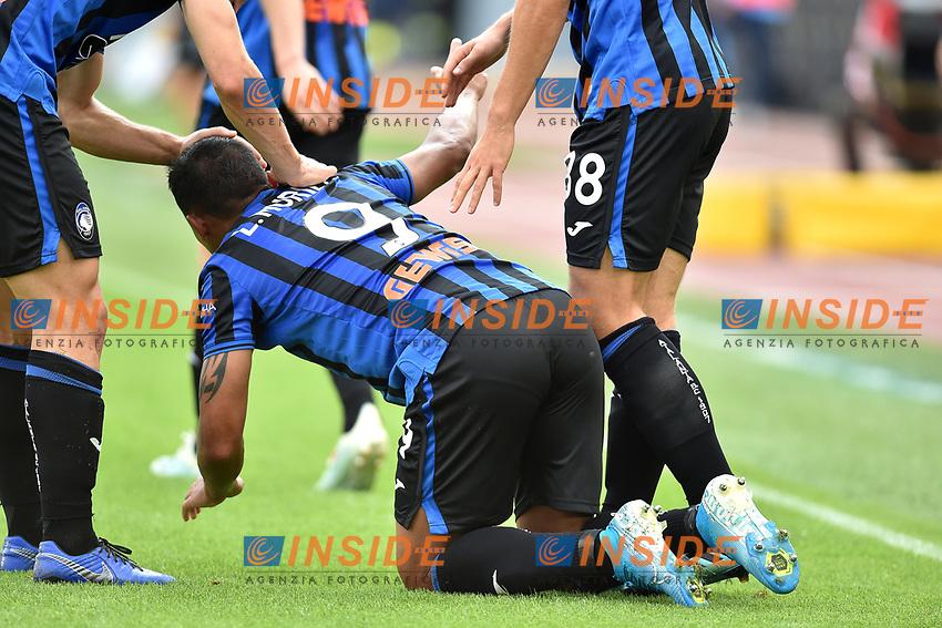 Luis Muriel of Atalanta BC (C) celebrates with team mates after scoring the goal of 0-2  <br /> Roma 19-10-2019 Stadio Olimpico <br /> Football Serie A 2019/2020 <br /> SS Lazio - Atalanta<br /> Foto Andrea Staccioli / Insidefoto