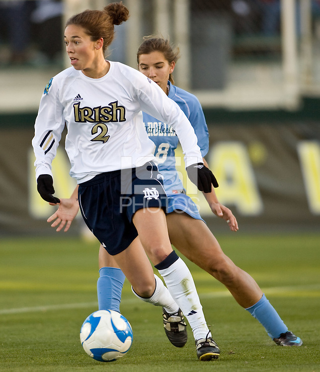 Notre Dame Fighting Irish forward Kerri Hanks (2). The North Carolina Tar Heels defeated the Notre Dame Fighting Irish 2-1 during the finals of the NCAA Women's College Cup at Wakemed Soccer Park in Cary, NC, on December 7, 2008. Photo by Howard C. Smith/isiphotos.com