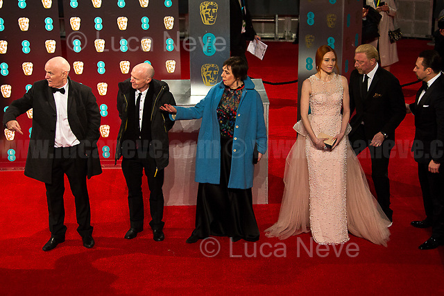 (From L to R) Dave Johns, Paul Laverty, Rebecca O' Brien (Movie: I, Daniel Blake).   <br /> <br /> London, 12/02/2017. Red Carpet of the 2017 EE BAFTA (British Academy of Film and Television Arts) Awards Ceremony, held at the Royal Albert Hall in London.<br /> <br /> For more information please click here: http://www.bafta.org/