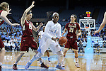 01 February 2015: North Carolina's Stephanie Mavunga (1) is defended by Boston College's Lauren Engeln (15) and Martina Mosetti (ITA) (21). The University of North Carolina Tar Heels hosted the Boston College Eagles at Carmichael Arena in Chapel Hill, North Carolina in a 2014-15 NCAA Division I Women's Basketball game. UNC won the game 72-60.