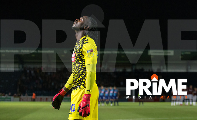 Goalkeeper Yves Ma-Kalambay of Wycombe Wanderers during shootout during the Carabao Cup match between Wycombe Wanderers and Northampton Town at Adams Park, High Wycombe, England on 14 August 2018. Photo by Andy Rowland.