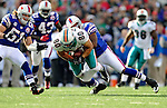 29 November 2009: Miami Dolphins' tight end Anthony Fasano is tackled during a game against the Buffalo Bills at Ralph Wilson Stadium in Orchard Park, New York. The Bills defeated the Dolphins 31-14. Mandatory Credit: Ed Wolfstein Photo