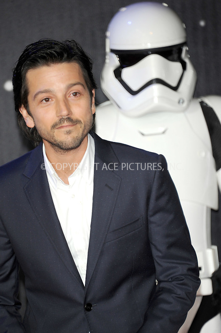 WWW.ACEPIXS.COM<br /> <br /> December 16 2015, London<br /> <br /> Diego Luna at the European Premiere of 'Star Wars: The Force Awakens' in Leicester Square on December 16, 2015 in London, England.<br /> <br /> By Line: Famous/ACE Pictures<br /> <br /> <br /> ACE Pictures, Inc.<br /> tel: 646 769 0430<br /> Email: info@acepixs.com<br /> www.acepixs.com