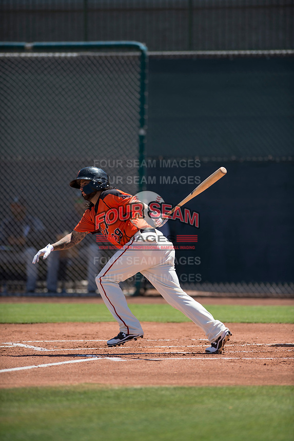San Francisco Giants Orange shortstop CJ Hinojosa (29) starts down the first base line in a rehab appearance during an Extended Spring Training game against the Seattle Mariners at the San Francisco Giants Training Complex on May 28, 2018 in Scottsdale, Arizona. (Zachary Lucy/Four Seam Images)