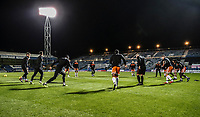Blackpool FC during the pre-match warm-up <br /> <br /> Photographer Rachel Holborn/CameraSport<br /> <br /> The EFL Sky Bet League One - Gillingham v Blackpool - Tuesday 6th November 2018 - Priestfield Stadium - Gillingham<br /> <br /> World Copyright &copy; 2018 CameraSport. All rights reserved. 43 Linden Ave. Countesthorpe. Leicester. England. LE8 5PG - Tel: +44 (0) 116 277 4147 - admin@camerasport.com - www.camerasport.com