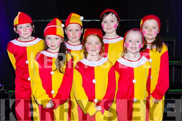 Faith Bradley, Ella Kate Flynn, Emma Mullane, Annie Mitchell, Alicia Fitzgerald, Chloe Clifford, Maria Brosnan at the Currow NS parents association musical in Killarney Racecourse on Sunday