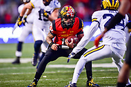 College Park, MD - NOV 11, 2017: Maryland Terrapins quarterback Ryan Brand (16) runs the football during game between Maryland and Michigan at Capital One Field at Maryland Stadium in College Park, MD. (Photo by Phil Peters/Media Images International)