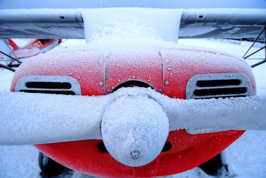 Frost on a Piper Super Cub, Merrill Field, Alaska.