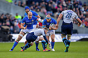 2nd February 2019, Murrayfield Stadium, Edinburgh, Scotland; Guinness Six Nations Rugby Championship, Scotland versus Italy; Leonardo Ghiraldini of Italy about to be tackled by Finn Russell of Scotland