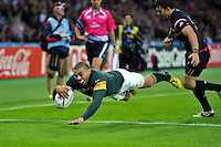 Bryan Habana of South Africa scores his third and record-equalling try of the match. Rugby World Cup Pool B match between South Africa and the USA on October 7, 2015 at The Stadium, Queen Elizabeth Olympic Park in London, England. Photo by: Patrick Khachfe / Onside Images