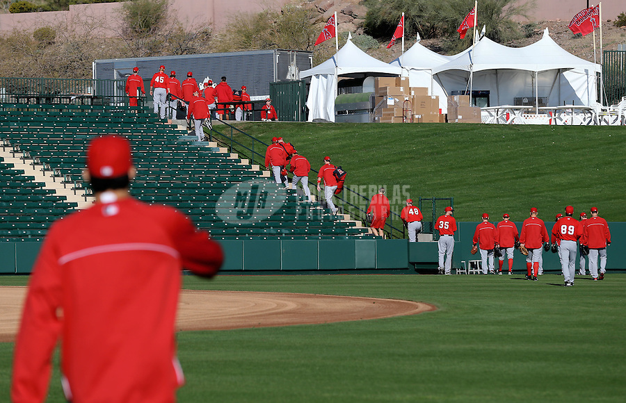 Feb. 12, 2013; Tempe, AZ, USA: Los Angeles Angels player head to the practice fields to stretch during spring training at Tempe Diablo Stadium. Mandatory Credit: Mark J. Rebilas-USA TODAY Sports