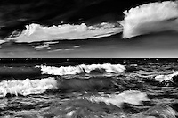 Clouds and waves on Clearwater Lake<br /> Clearwater Lake Provincial Park<br /> Manitoba<br /> Canada