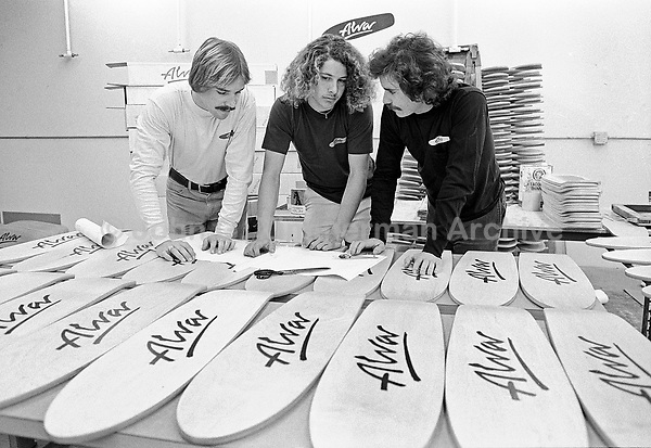 Skaterboard star Tony Alva checks out boards at his skateboard shop, Venice California, 1978. Photo by John G. Zimmerman.