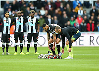 9th November 2019; St James Park, Newcastle, Tyne and Wear, England; English Premier League Football, Newcastle United versus AFC Bournemouth;  Jamaal Lascelles of Newcastle United and Steve Cook of AFC Bournemouth lay wreaths to commemorate Armistice day - Strictly Editorial Use Only. No use with unauthorized audio, video, data, fixture lists, club/league logos or 'live' services. Online in-match use limited to 120 images, no video emulation. No use in betting, games or single club/league/player publications