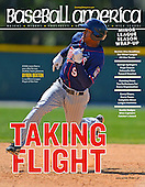 Baseball America October 1, 2013 Issue featuring an image of Minnesota Twins outfielder Byron Buxton #9 rounding second base after hitting a triple during a minor league Spring Training game against the Baltimore Orioles at Buck O'Neil Complex on March 26, 2013 in Sarasota, Florida. (Mike Janes Photography)