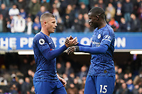 Chelsea's Kurt Zouma and Ross Barkley celebrate their teams win<br /> <br /> Photographer Stephanie Meek/CameraSport<br /> <br /> The Premier League - Chelsea v Everton - Sunday 8th March 2020 - Stamford Bridge - London<br /> <br /> World Copyright © 2020 CameraSport. All rights reserved. 43 Linden Ave. Countesthorpe. Leicester. England. LE8 5PG - Tel: +44 (0) 116 277 4147 - admin@camerasport.com - www.camerasport.com