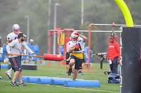 July 26, 2018: New England Patriots wide receiver Julian Edelman (11) works out in the rain at the New England Patriots training camp held on the practice fields at Gillette Stadium, in Foxborough, Massachusetts. Eric Canha/CSM