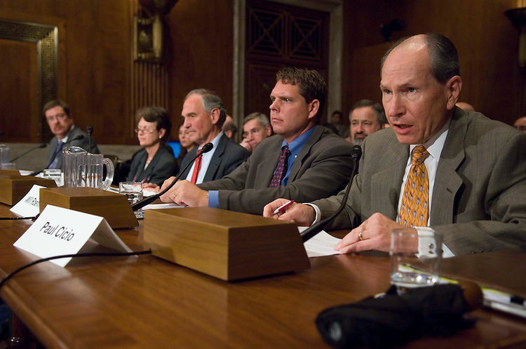 WASHINGTON, DC - Oct. 24: Kevin Anton, president of Alcoa Materials Management; Frances Beinecke, president of the Natural Resources Defense Council; William R. Moomaw, director of the Institute for the Environment, Tufts University; Will Roehm, vice president of Montana Grain Growers Association; Paul Cicio, executive director of Industrial Energy Consumers of America, testify during the Senate Environment Subcommittee on Private Sector and Consumer Solutions to Global Warming and Wildlife Protection hearing on climate change. (Photo by Scott J. Ferrell/Congressional Quarterly).