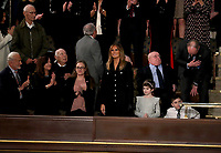 First lady Melania Trump arrives prior to United States President Donald J. Trump delivering his second annual State of the Union Address to a joint session of the US Congress in the US Capitol in Washington, DC on Tuesday, February 5, 2019.<br /> CAP/MPI/RS<br /> ©RS/MPI/Capital Pictures