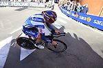 Giovanni Lonardi (ITA) Nippo-Vini Fantini-Faizane rounds the hairpin to commence the San Luca climb during Stage 1 of the 2019 Giro d'Italia, an individual time trial running 8km from Bologna to the Sanctuary of San Luca, Bologna, Italy. 11th May 2019.<br /> Picture: Eoin Clarke | Cyclefile<br /> <br /> All photos usage must carry mandatory copyright credit (© Cyclefile | Eoin Clarke)