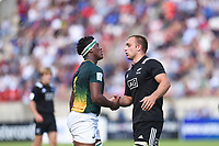 Phendulani Buthelezi of South Africa and Tom Christie of South Africa shake hands after the World Championship U20 3rd place match between South Africa and New Zealand on June 17, 2018 in Beziers, France. (Photo by Alexandre Dimou/Icon Sport)