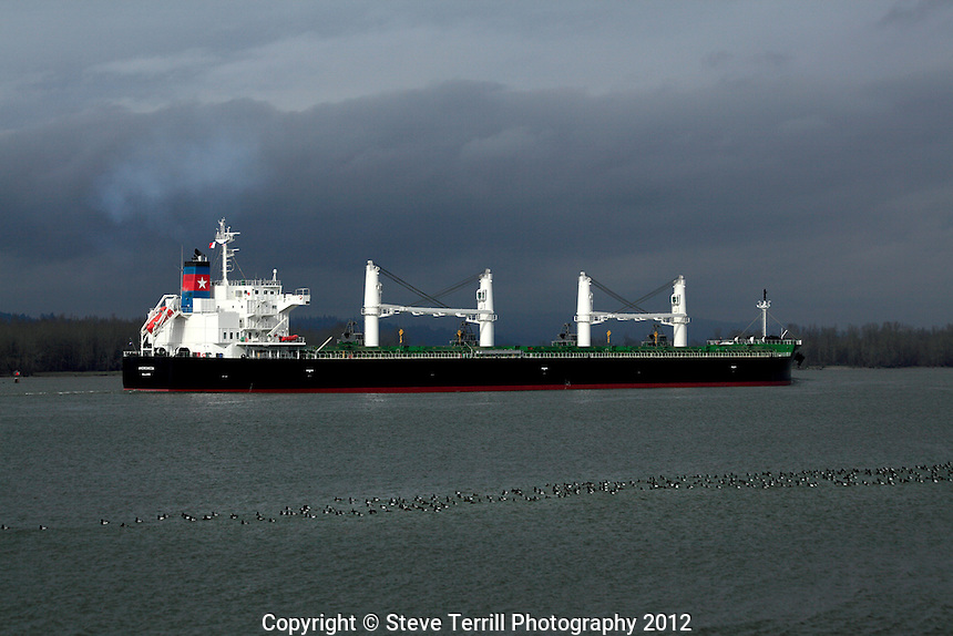 Ship heading to sea from Portland Oregon