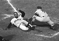 Giants Willie Mays slides safe into home. (1967 photo/Ron Riesterer)