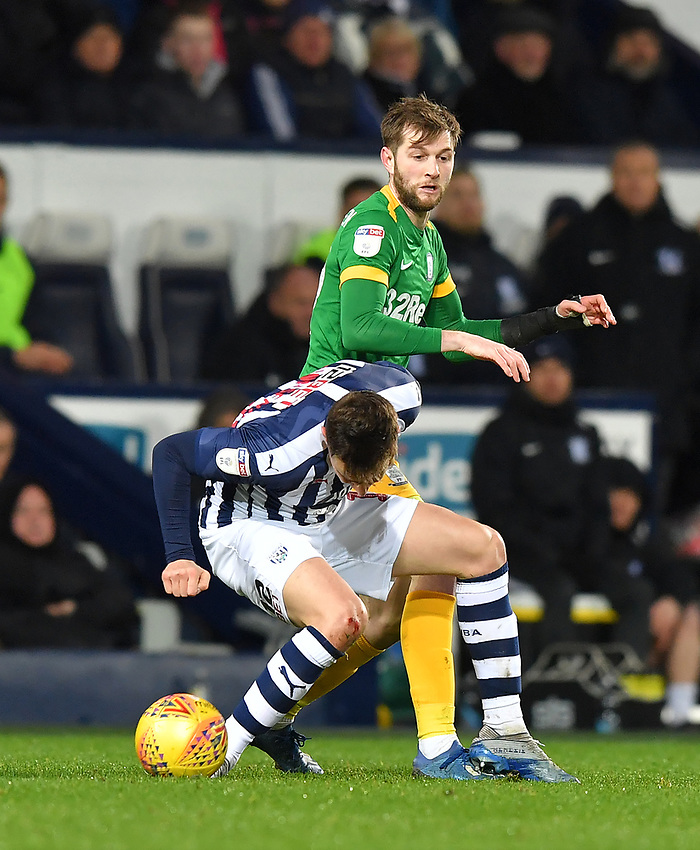 Preston North End's Tom Barkhuizen battles with West Bromwich Albion's Conor Townsend<br /> <br /> Photographer Dave Howarth/CameraSport<br /> <br /> The EFL Sky Bet Championship - West Bromwich Albion v Preston North End - Tuesday 25th February 2020 - The Hawthorns - West Bromwich<br /> <br /> World Copyright © 2020 CameraSport. All rights reserved. 43 Linden Ave. Countesthorpe. Leicester. England. LE8 5PG - Tel: +44 (0) 116 277 4147 - admin@camerasport.com - www.camerasport.com