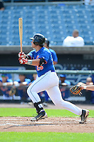 Catcher / first baseman Chase Vallot (25) of St. Thomas More High School in Lafayette, Louisiana playing for the New York Mets scout team during the East Coast Pro Showcase on August 1, 2013 at NBT Bank Stadium in Syracuse, New York.  (Mike Janes/Four Seam Images)