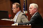 Nevada Lt. Gov. Mark Hutchison, left, and Assembly Speaker John Hambrick, R-Las Vegas, listen as Republican Rep. Joe Heck speaks to a joint session at the Legislative Building in Carson City, Nev., on Monday, March 30, 2015. <br /> Photo by Cathleen Allison