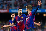 Sergio Busquets Burgos of FC Barcelona reacts with Gerard Pique Bernabeu of FC Barcelona during the La Liga 2018-19 match between FC Barcelona and Real Betis at Camp Nou, on November 11 2018 in Barcelona, Spain. Photo by Vicens Gimenez / Power Sport Images