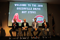 Featured speakers are the Greenville Drive's annual Hot Stove Event take the stage on Tuesday, January 26, 2016, in the ONE Building in Downtown Greenville, South Carolina. From left: Drive General Manager Eric Jarinko; Drive Owner/President Craig Brown; Boston Red Sox General Manager Mike Hazen; and Greenville Drive Manager Darren Fenster. (Tom Priddy/Four Seam Images)